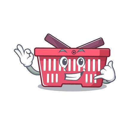 Call me funny shopping basket mascot picture style. Vector illustration