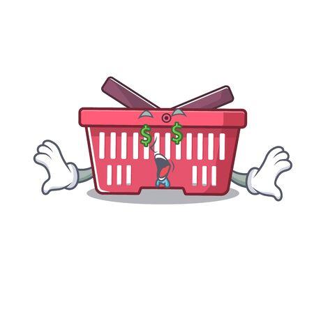 Happy rich shopping basket with Money eye cartoon character style. Vector illustration Illusztráció