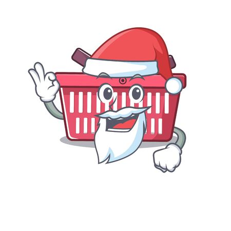 A picture of Santa shopping basket mascot picture style with ok finger. Vector illustration Imagens - 138447878