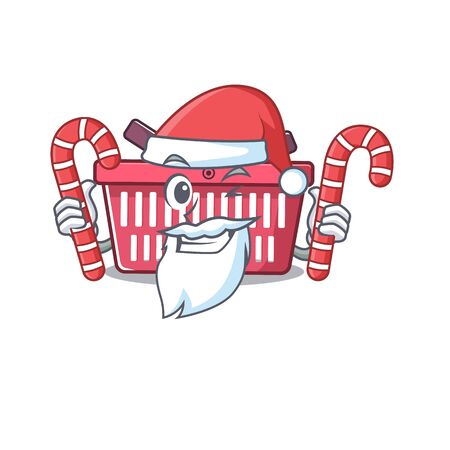 Shopping basket Cartoon character in Santa costume with candy. Vector illustration Imagens - 138447982