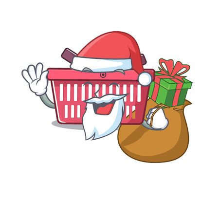 Santa shopping basket Cartoon character design having box of gift. Vector illustration