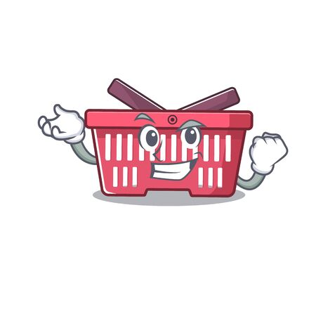 Happy confident Successful shopping basket cartoon character style. Vector illustration Illustration