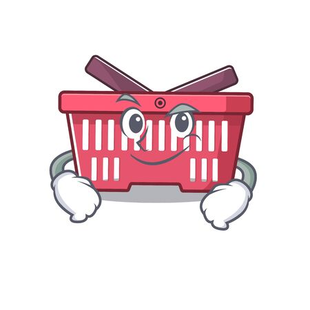 Cool shopping basket mascot character with Smirking face. Vector illustration Vetores