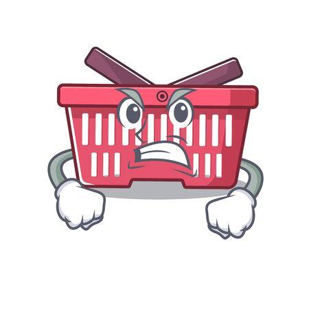 Shopping basket cartoon character design having angry face. Vector illustration Illusztráció