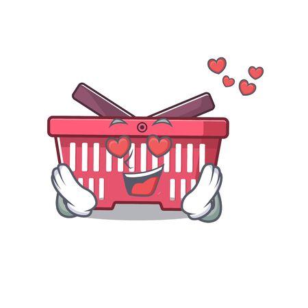 falling in love cute shopping basket cartoon character design. Vector illustration Illusztráció