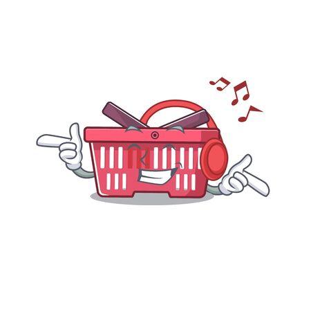 Listening music shopping basket mascot cartoon character design. Vector illustration Imagens - 138449794