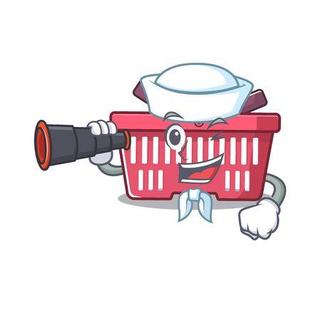 Shopping basket cartoon happy Sailor style with binocular. Vector illustration Illusztráció