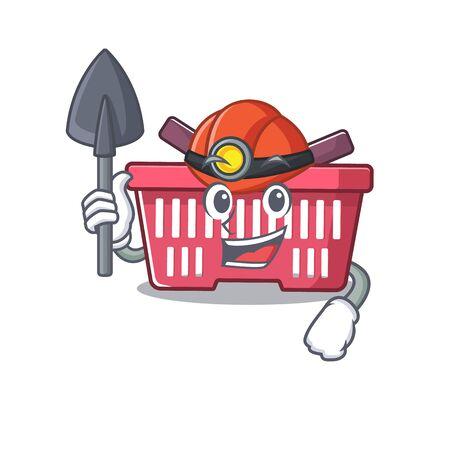 Cool clever Miner shopping basket cartoon character design. Vector illustration