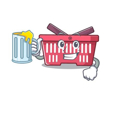 Happy shopping basket mascot design with a big glass. Vector illustration