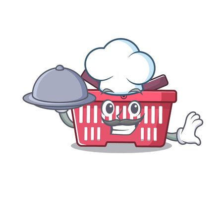 cartoon design of shopping basket as a Chef having food on tray. Vector illustration