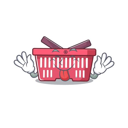 Cute shopping basket cartoon mascot style with Tongue out. Vector illustration Imagens - 138450648