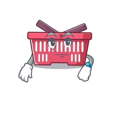 cartoon character design of shopping basket on a waiting gesture. Vector illustration Illusztráció