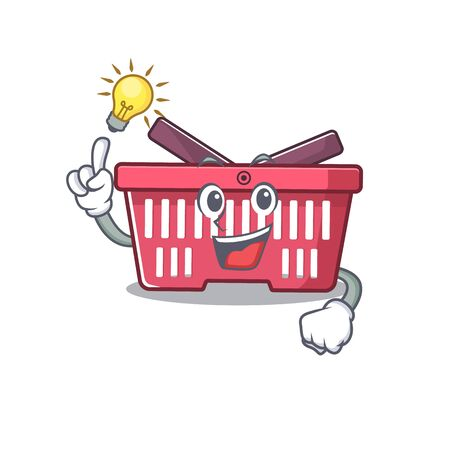 Have an idea gesture of shopping basket cartoon character design. Vector illustration Imagens - 138449909