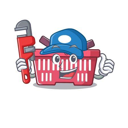 Cool Plumber shopping basket on mascot picture style. Vector illustration Illusztráció