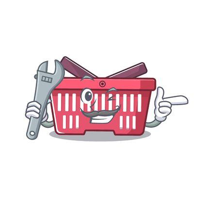 Smart Mechanic shopping basket cartoon character design. Vector illustration