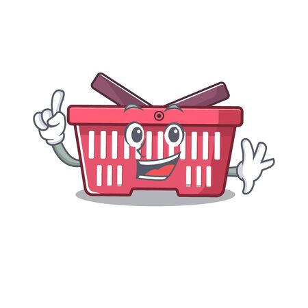 One Finger shopping basket in mascot cartoon character style. Vector illustration