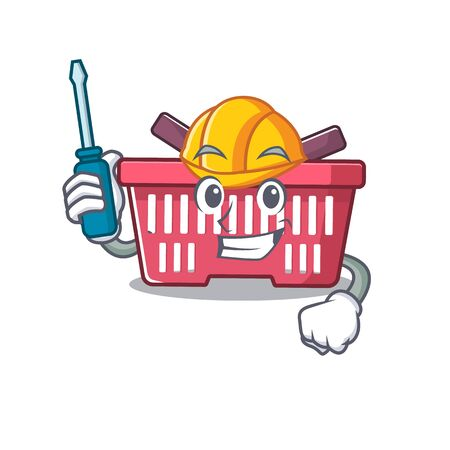 Cool automotive shopping basket in cartoon character style. Vector illustration