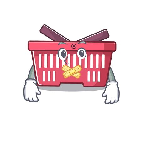 a silent gesture of shopping basket mascot cartoon character design. Vector illustration