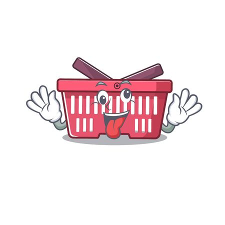 Shopping basket Cartoon character style with a crazy face. Vector illustration