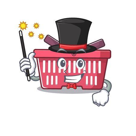 A picture of shopping basket performance as a Magician. Vector illustration Illusztráció