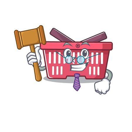 Smart Judge shopping basket in mascot cartoon character style. Vector illustration