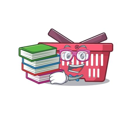 Cool and clever Student shopping basket mascot cartoon with book. Vector illustration