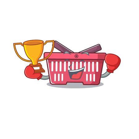 fantastic Boxing winner of shopping basket in mascot cartoon style. Vector illustration Imagens - 138449954