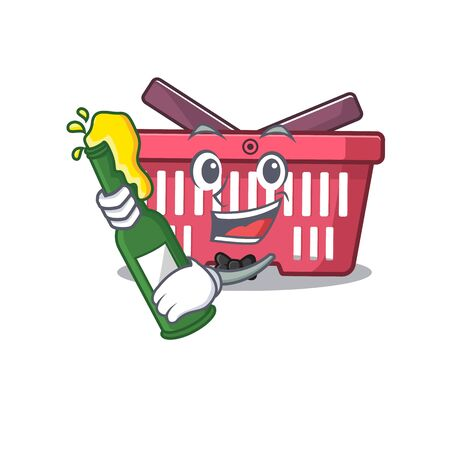 mascot cartoon design of shopping basket with bottle of beer. Vector illustration Imagens - 138450654