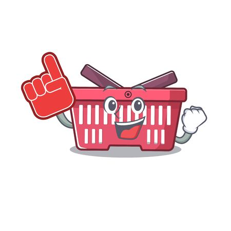 shopping basket mascot cartoon style holding a Foam finger. Vector illustration