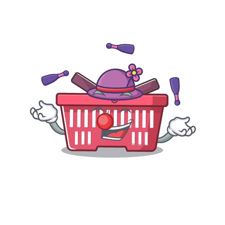 Smart shopping basket cartoon character design playing Juggling. Vector illustration