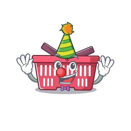 Funny Clown shopping basket cartoon character mascot design. Vector illustration