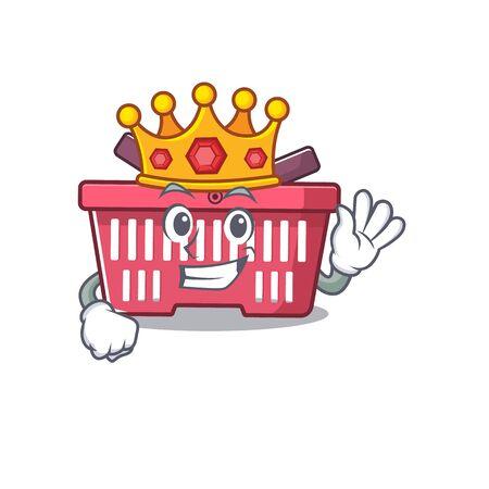A stunning of shopping basket stylized of King on cartoon mascot style. Vector illustration Illusztráció