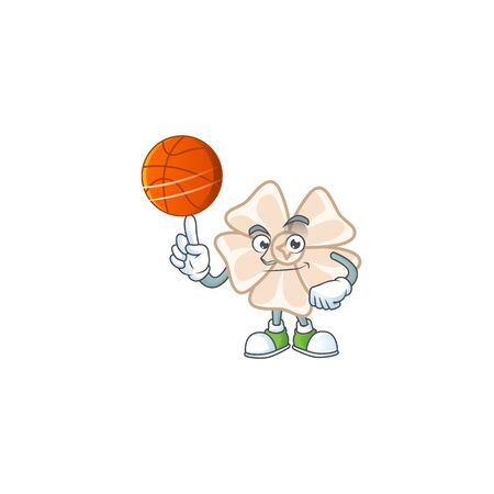 a Healthy chinese white flower cartoon character playing basketball Stock fotó - 138466621