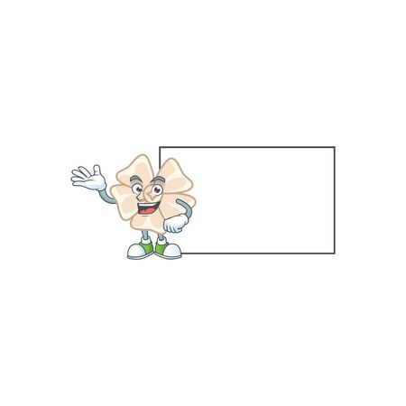 Smiley chinese white flower with whiteboard cartoon character design. Vector illustration