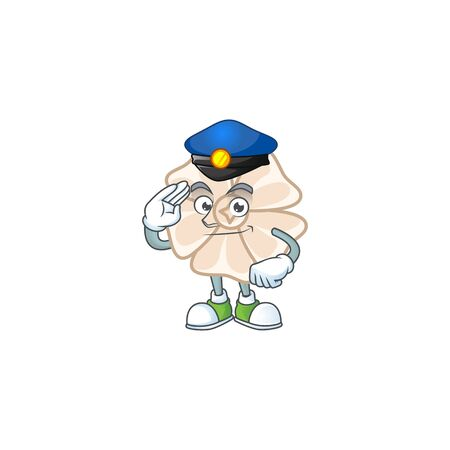 A character design of chinese white flower in a Police officer costume
