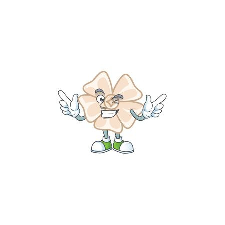 Funny face chinese white flower cartoon character style with Wink eye. Vector illustration