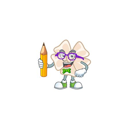 A picture of Student chinese white flower character holding pencil. Vector illustration Çizim