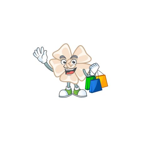 A happy rich chinese white flower waving and holding Shopping bag. Vector illustration 矢量图像
