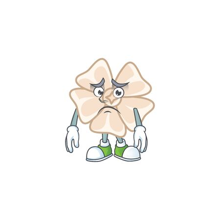 A picture of chinese white flower showing afraid look face Illustration