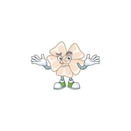 Super Funny Grinning chinese white flower mascot cartoon style 矢量图像