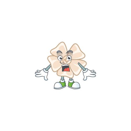Chinese white flower cartoon character design on a surprised gesture