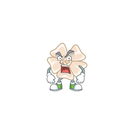 Chinese white flower cartoon character design having angry face