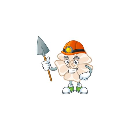 Cool clever Miner chinese white flower cartoon character design