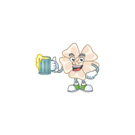 Happy chinese white flower mascot design with a big glass