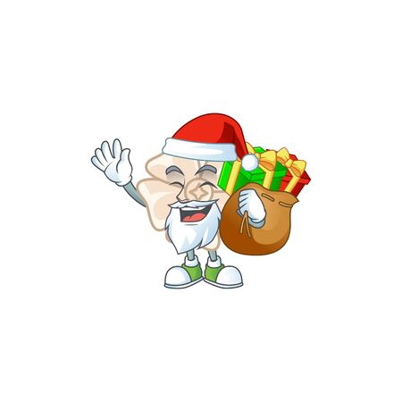 Santa chinese white flower Cartoon character design having box of gift 일러스트