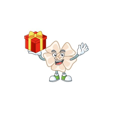 Happy face chinese white flower cartoon character having a box of gift