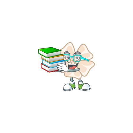 Cool and clever Student chinese white flower mascot cartoon with book