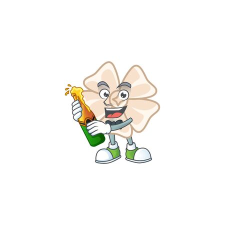 mascot cartoon design of chinese white flower with bottle of beer 일러스트