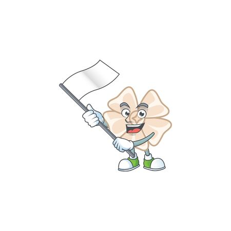 Funny chinese white flower cartoon character style holding a standing flag Illustration