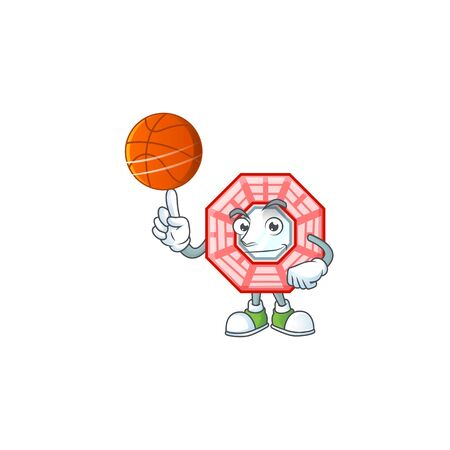a Healthy chinese square feng shui cartoon character playing basketball Stock fotó - 138475099